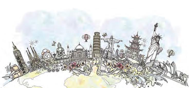 Imagem mostra diversos pontos turísticos de inúmeros países
