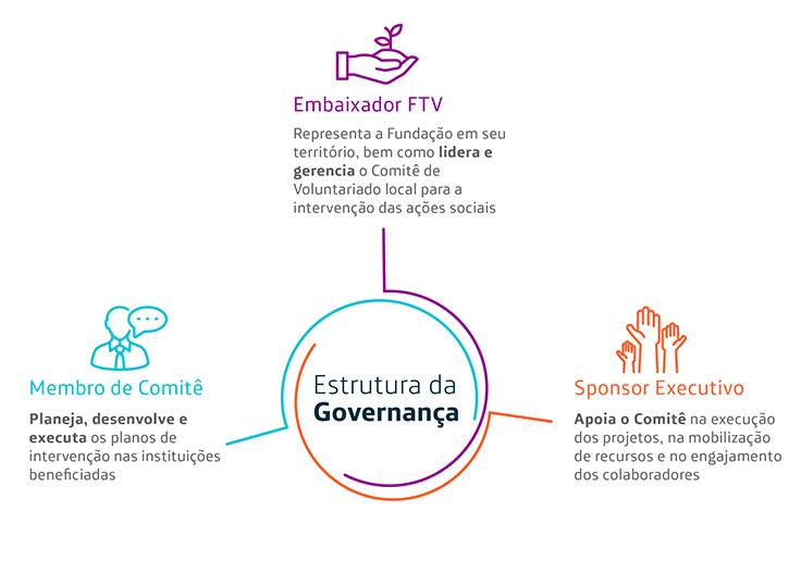 Imagem de infográfico detalhando a estrutura de Governança do Programa de Voluntariado da Fundação Telefônica Vivo