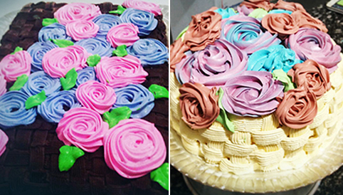 Imagem mostra dois bolos feito por Pamela. São bolos decorados e coloridos