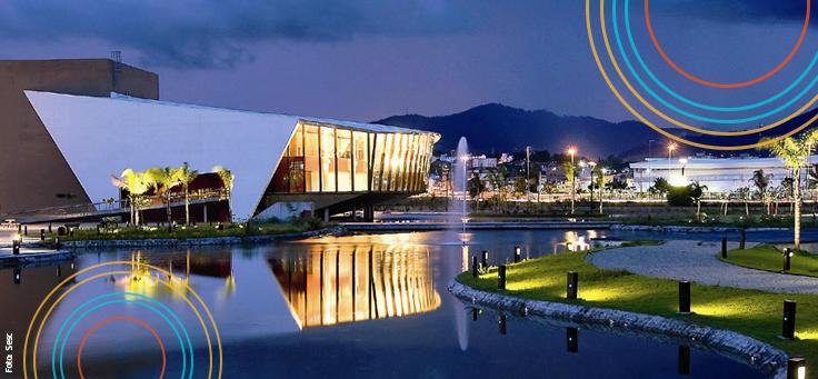 Imagem mostra o Museu do Amanhã, no Rio de Janeiro, Iluminado
