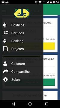 Print da tela do aplicativo Monitora Brasil mostra o menu do lado esquerdo, com opções com projeto, saiba mais, partidos, fichas.