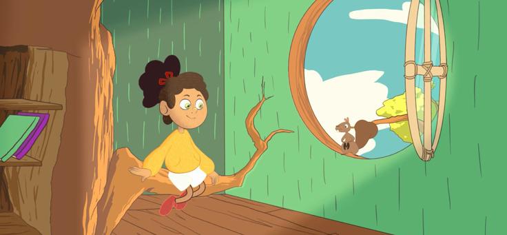 Na imagem, a personagem Min interage com um esquilo