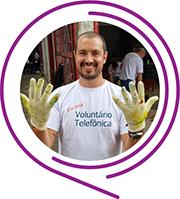 Rosto de Guilherme Quatrocchi, durante o Dia dos Voluntários