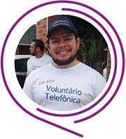Rosto de Maicon Jacinto, durante o Dia dos Voluntários