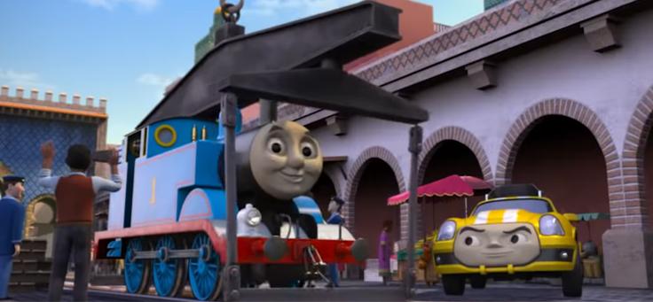 Imagem mostra Thomas, um vagão azul e personagem principal da animação Thomas e seus amigos, que divulga os ODS, Objetivos de Desenvolvimento Sustentável, da ONU.