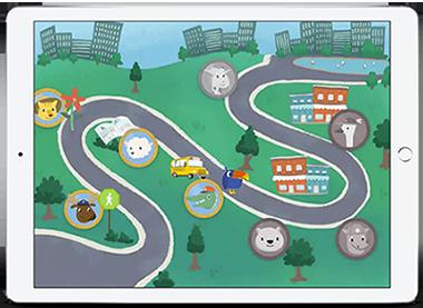 Imagem mostra caminho colorido com diversos animais, uma das etapas do aplicativo que ajuda a identificar crianças em risco de desenvolverem dificuldades de aprendizagem
