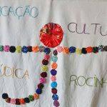 Pano com gravura de um boneco mostra as palavras Educação, Cultura, Lúdica e Rocinha na Escola André Urani, conhecida como GENTE e que promove a cultura de paz.