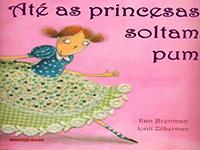 Capa de Até as Princesas Soltam Pum, livro do universo infantojuvenil, traz uma menina usando vestido com estampa quadriculada em azul e verde, olhando de lado para o leitor.