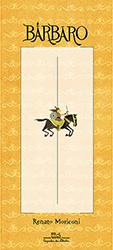 Capa de Bárbaro, livro do universo infantojuvenil, traz um guerreiro empunhando uma espada em cima de um cavalo, em um formato retangular.
