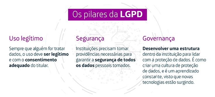 Infográfico destaca os pilares da Lei de Proteção de Dados Pessoais