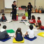Imagem mostra crianças dentro de uma sala, sentadas em almofadas no chão, formando um círculo. De pé estão duas mulheres e ao fundo se vê instrumentos musicais.