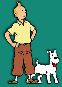 As Aventuras de Tintim é um dos quadrinhos que podem ser usados para debater temas da sociedade em sala de aula. Na capa, o jornalista Tintim usa seu tradicional topete e calças curtas, posando ao lado do seu cão de pelos brancos, Milu