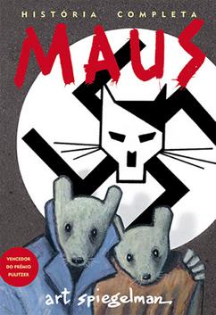 Maus é um dos quadrinhos que podem ser usados para debater temas da sociedade em sala de aula. Na capa, dois ratos estão abraçados enquanto ao fundo um muro exibe uma suástica estilizada com o desenho de um gato.