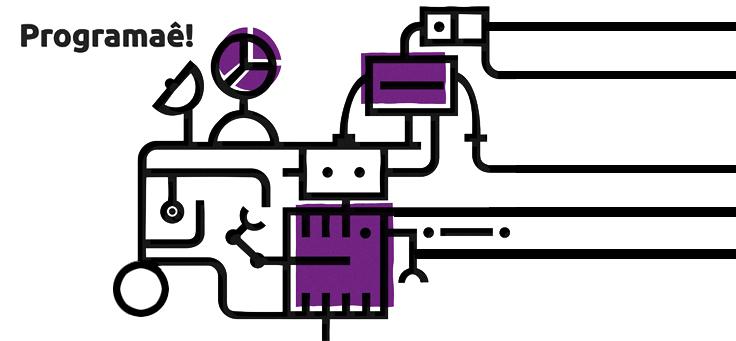 Imagem mostra ilustração do caderno Programaê com uma engrenagem em tons de branco e púrpura.