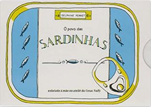 Capa do livro infantil O povo das sardinhas, que é em formato de uma lata na cor branca com bordas azuis e pequenas sardinhas desenhadas.