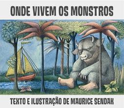 Capa do livro Onde Vivem os Monstros traz um personagem que lembra a figura de um boi, mas tem pés humanos sentado com o queixo apoiado nas mãos debaixo de palmeiras.