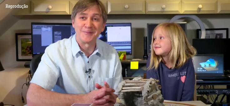 Frame do vídeo de Steve Hartman com sua filha