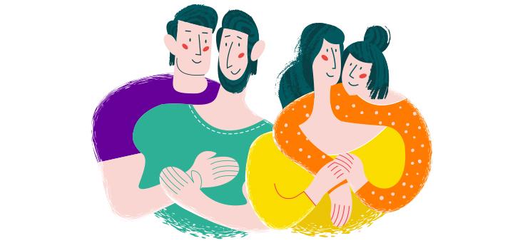 Ilustração mostra dois casais abraçados