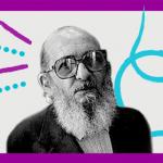 Imagem do pensador Paulo Freire estilizada com uma borda púrpura e alguns grafismos azuis.