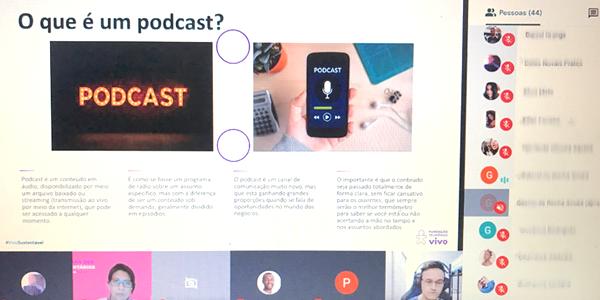 Tela mostra conteúdo de oficina de podcast realizada com jovens do Instituto Ana Rosa durante a Semana dos Voluntários.
