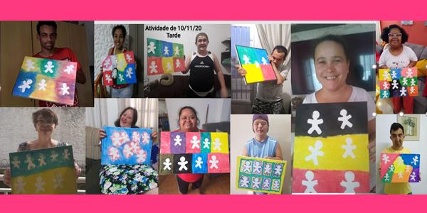 Tela mostra 14 jovens segurando desenhos em homenagem à Vivo durante em atividade da Semana dos Voluntários na Nova 4E.