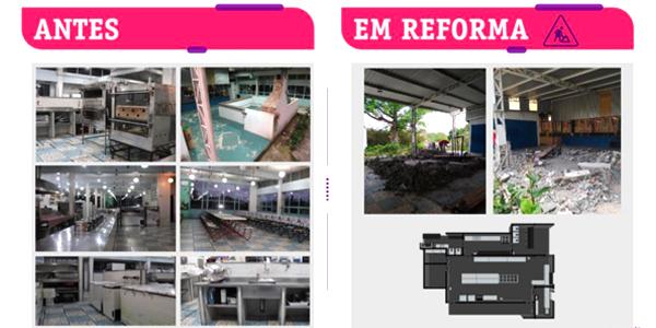 Imagem mostra o antes e depois de refeitório entregue na Casa do Cristo Redentor durante a Semana dos Voluntários.