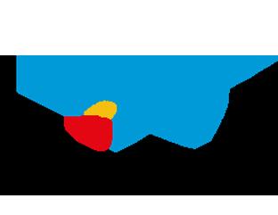 Logo da Fundação La Caixa traz uma estrela em azul e vermelho