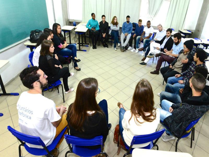 Estudantes participam de reunião com jurados após apresentação dos pitches