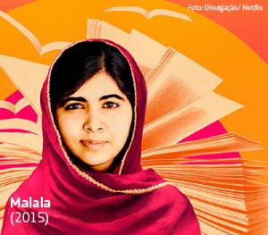 Na imagem, a ativista Malala Yousafzai aparece com véu como efeito estilizado ao fundo