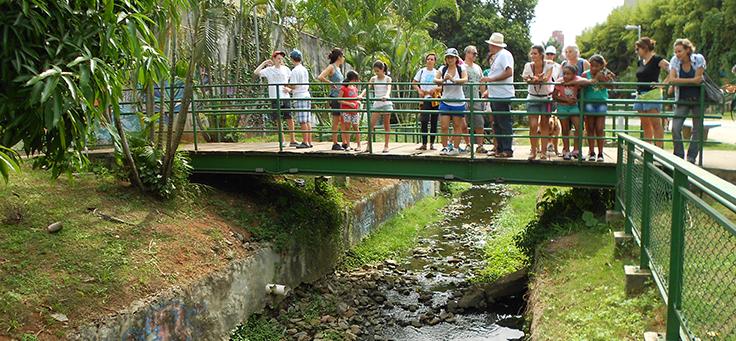 Participantes de caminhada do Rios e Ruas estão em cima de ponte sobre um córrego da cidade de São Paulo. O projeto é um dos que remodelam a relação entre pessoas e cidades.