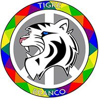 Ícone do aplicativo Tigre Branco, que combate o bullying, mostra o brasão de um tigre estilizado com moldura colorida.