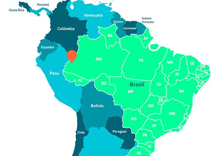 Mapa mostra parte da América Latina e marca região entre Brasil e Peru, onde se localizam indígenas do povo Matsés, que criou enciclopédia sobre plantas medicinais.