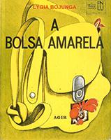 Capa de Bolsa Amarela, livro do universo infantojuvenil, traz uma grande bolsa amarela desenhada.
