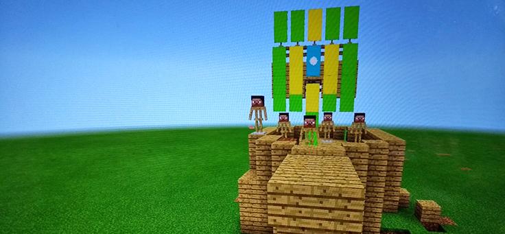 Cena de Minecraft, um dos jogos que podem ser usados por professores em sala de aula, mostra bonequinhos em cima de uma fortaleza.