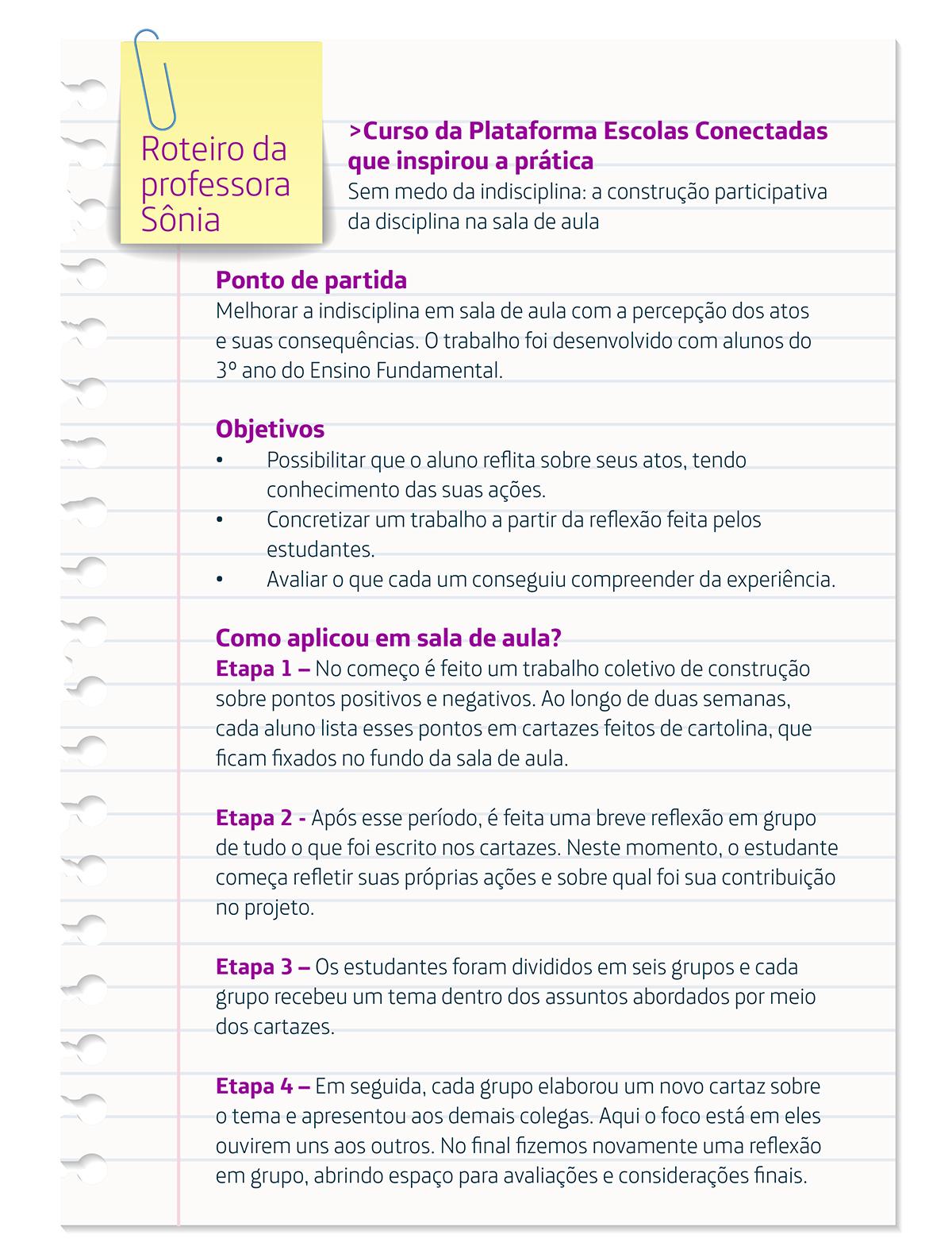 Infográfico mostra o roteiro de aula da professora sobre disciplina de mãe