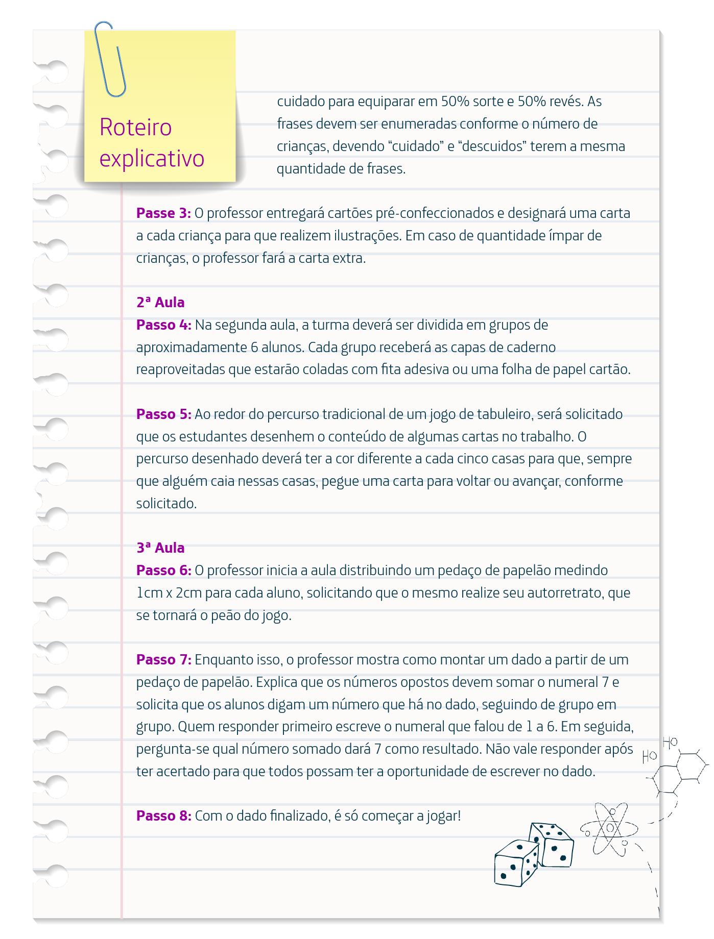 Infográfico traz passo a passo de como implementar o Jogo da Horta, que mistura arte e educação ambiental, e traz detalhes em roxo e desenhos como o de dois dados.