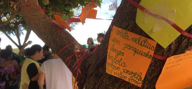 O coletivo A-braço é uma das iniciativas voluntárias e atua no Ceará. Na imagem, cartazes estão colados em árvore.
