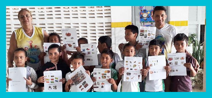 Atividade sobre alimentação saudável feita pelos alunos da Escola Municipal Rosa Amélia de Queiroz