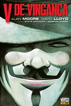 V de Vingança é um dos quadrinhos que podem ser usados para debater temas da sociedade em sala de aula. A capa mostra a máscara de Guy Fawkes, um rosto branco com sorriso quadrado bem largo e bigode, acompanhada de um chapéu.