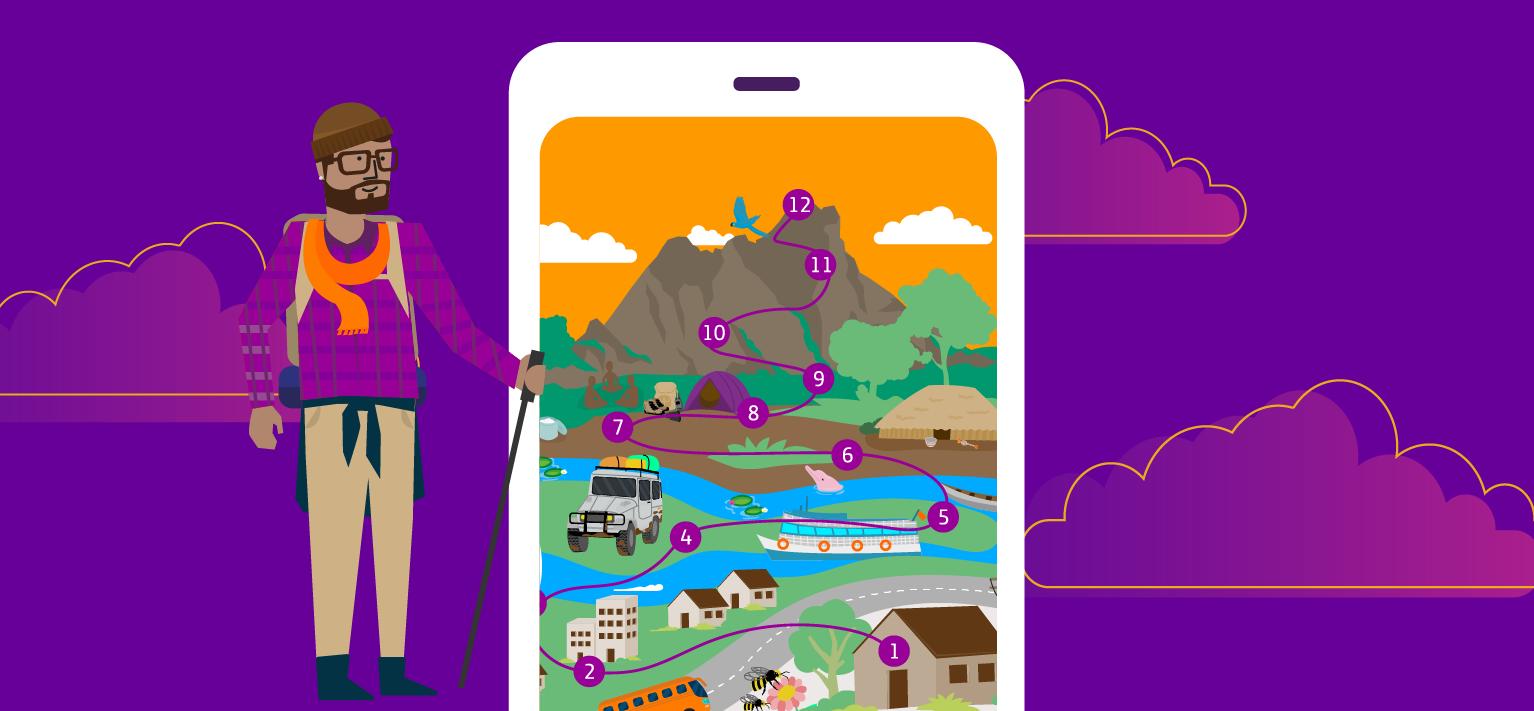 Imagem mostra ilustração do ambiente do aplicativo Pense Grande Digital. Um jovem montanhista observa a tela de um celular, onde se vê uma trilha que leva até o Pico da Neblina.