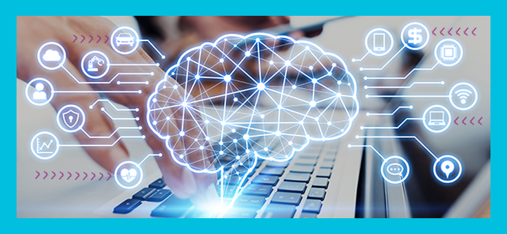 Imagem mostra uma mão mexendo no teclado de um notebook e vários elementos gráficos desenhados