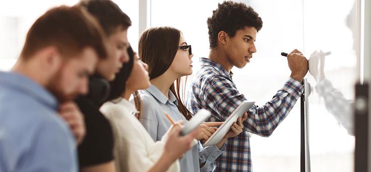 Imagem mostra um grupo de jovens olhando para um quadro na parede e fazendo anotações