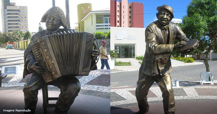 Imagem das estátuas de Luiz Gonzaga e Jackson do Pandeiro