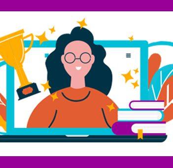 Ilustração mostra mulher jovem usando óculos e sorrindo enquanto sai de uma tela de um notebook. À esquerda há um troféu e à direita há uma pilha de livros. Ela representa a plataforma Escolas Conectadas, que recebeu o UNESCO- Hamdan de Educação.