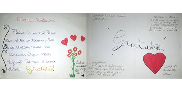 Imagem mostra desenho produzido por criança na Semana dos Voluntários, no qual se destacam a palavra gratidão e corações.