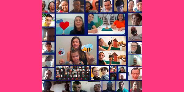 Tela dividida em 30 frames mostram os rostos de colaboradores e beneficiários da Nova 4E durante a Semana dos Voluntários. Muitos estão segurando desenhos como corações, abelhas e outros animais.