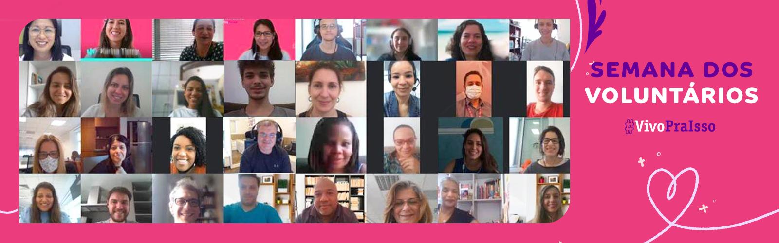 Imagem reúne 24 dos mais de 4.000 colaboradores da Vivo que atuaram na Semana dos Voluntários em novembro. Na montagem aparecem frames do rosto dos 24 colaboradores, que participaram de ações voluntárias de maneira 100% digital.