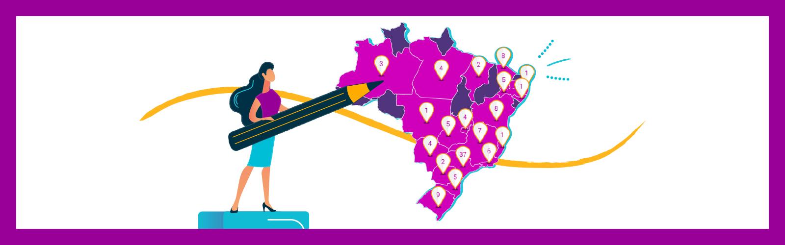 Imagem mostra o desenho do mapa do Brasil com vários pins marcandos os estados. Há ainda, o desenho de uma mulher segurando um lápis gigante e apontando para o mapa