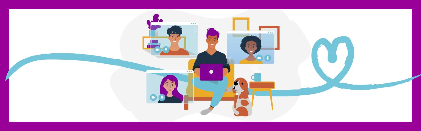 A imagem é uma animação colorida com o desenho de um rapaz sentado ao centro e atrás dele três telas com o rosto de outras pessoas simulando uma videoconferência. Há um cachorro sentado ao lado dele.