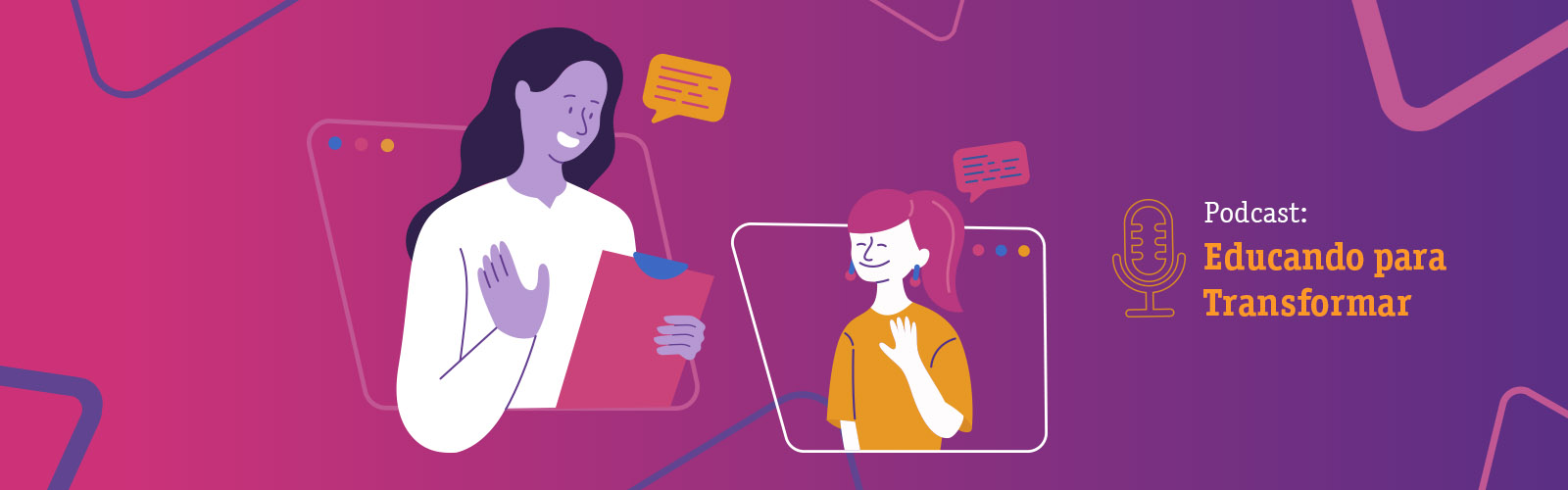 Ilustração colorida com o desenho de duas mulheres, ao lado direito se lê: Podcast